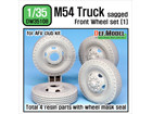 US M54A2 Cargo Truck Sagged Front Wheel set (1) - Civilian type tire (for AFV club 1/35)