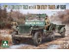 [1/35] U.S.ARMY 1/4 TON UTILITY TRUCK w/TRAILER & MP FIGURE (w/CAL.50 Barrel)